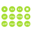 Play button or flat green web icon set vector image