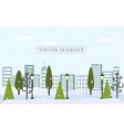 Chrismas winter flat landscape background New vector image