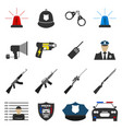 16 flat police icon protect and serve label vector image vector image