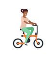 african woman riding electric bike over white vector image vector image