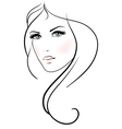 Beautiful young woman with long blond hair vector image