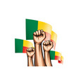 benin flag and hand on white background vector image