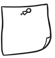 black and white freehand drawn note paper with pin vector image