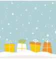Blue christmas snowing background with gifts vector image vector image