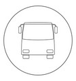 bus icon black color in circle vector image