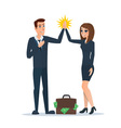 Businessman and woman clapping hands each other in vector image