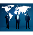 businessman are standing in front large world m vector image