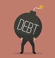 businessman bearing debt bomb vector image vector image