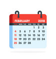calendar for 2018 year full month of february icon vector image vector image