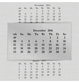 calendar month for 2016 pages December vector image vector image