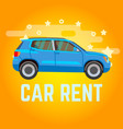 car rent blue suv on yellow vector image vector image