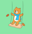 cartoon cute autumn bear swing vector image