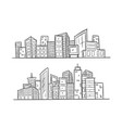 cartoon hand drawing city on white background vector image vector image