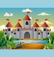 cartoon of fairy tale castle with beautiful landsc vector image