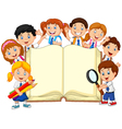Cartoon school children with book isolated vector image