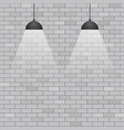ceiling lights on grey brick wall background vector image vector image