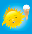 cheerful sun with ice cream vector image vector image