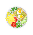 cheese vegetables and egg sandwich on a plate vector image vector image