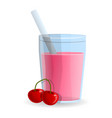 cherry smoothie glass icon cartoon style vector image