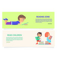 children reading zone information vector image vector image