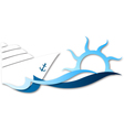 Cruise ship on waves vector image vector image