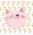 cute cat face flowers leaves decoration background vector image