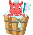 cute hippo bathing time vector image vector image