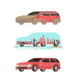 dirty and clean shine car washing stages vector image