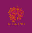 fall red and orange tree and foliage sketch vector image vector image