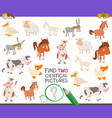 find two identical farm animals task for children vector image