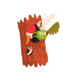 funny woodpecker sitting in the hollow with a cup vector image vector image