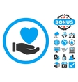 Heart Charity Flat Icon with Bonus vector image vector image
