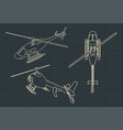 helicopter blueprints vector image vector image