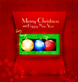 holiday open box with Christmas balls vector image vector image