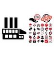 Industrial Building Flat Icon with Bonus vector image