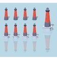 Low poly red lighthouse vector image vector image