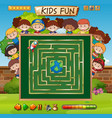 maze game on chalkboard game template vector image vector image