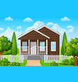 mountain landscape with house on sky background vector image