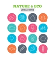 Nature and Eco icons Trees rose flower vector image vector image