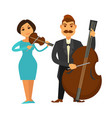 orchestra members with violin and violoncello vector image