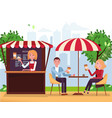 park cafe with parasol and awning couple on vector image vector image
