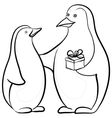 penguins with a gift box contours vector image vector image