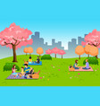 people having outdoor picnic at park during vector image vector image
