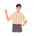 portrait smiling young man saying hello and vector image vector image