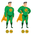 Recycle superhero in green uniform with a cape vector image