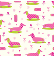 Seamless pattern with cute dog and floral elements vector image vector image