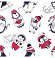 seamless pattern with funny baby penguins dressed vector image vector image