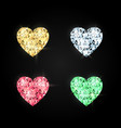 set hearts made precious stones decoration vector image