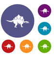 stegosaurus dinosaur icons set vector image vector image