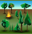 tree and bush set with fire vector image